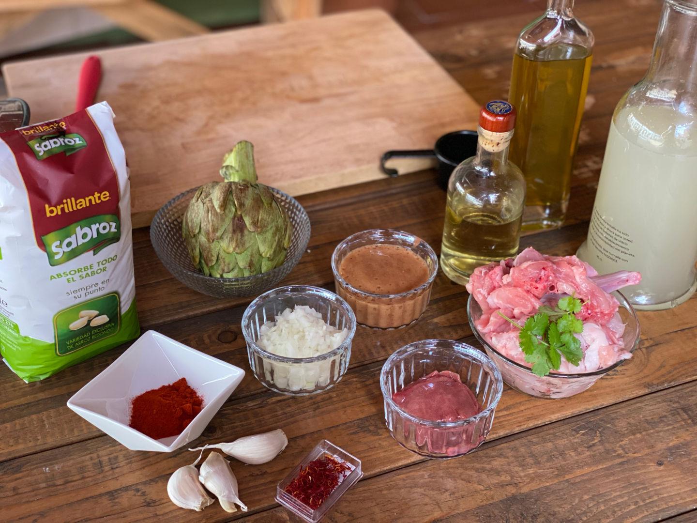 Ingredientes para hacer arroz con conejo
