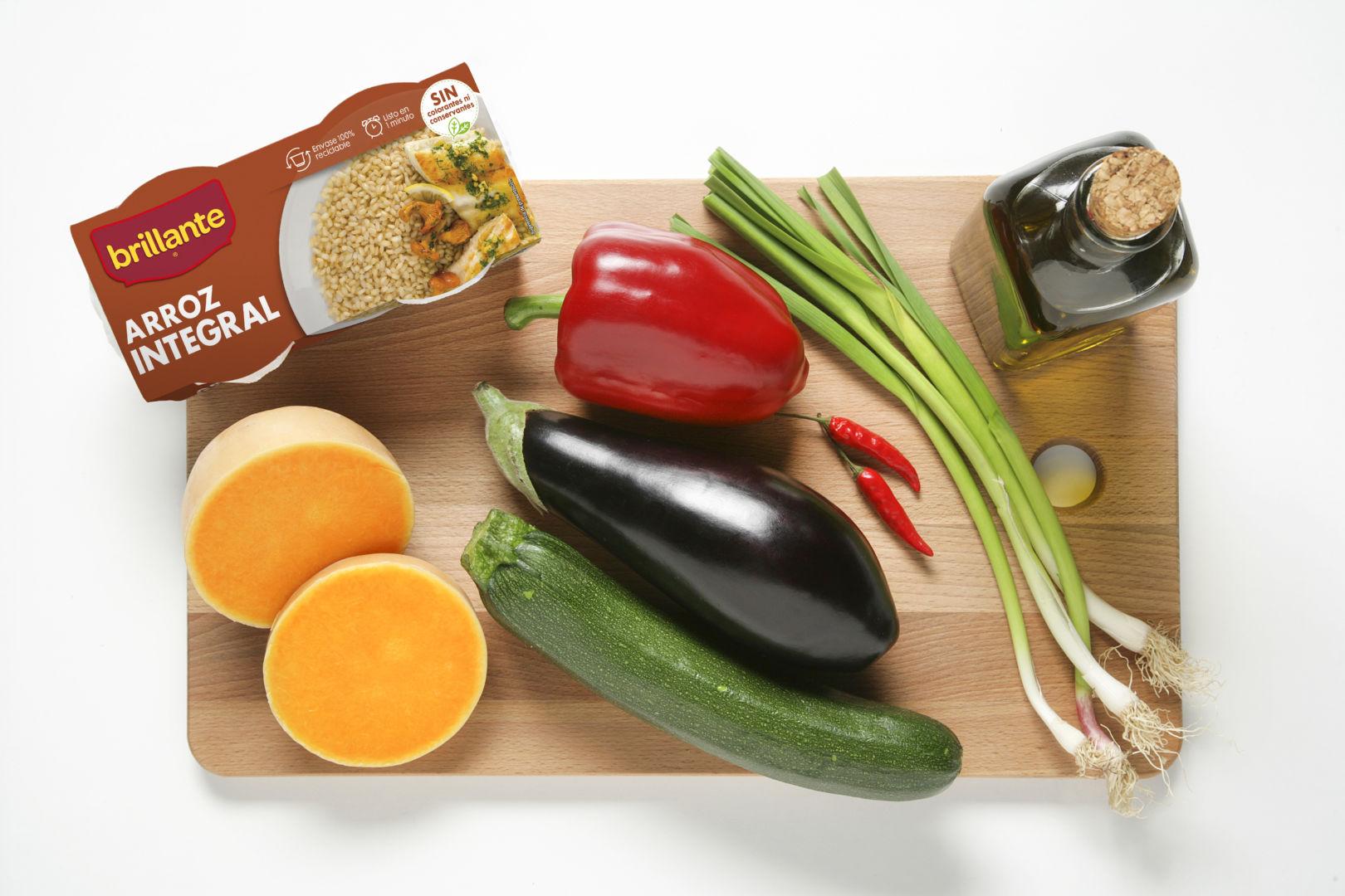 Ingredientes Salteado de arroz integral con verduras