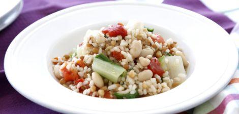 Guiso de arroz integral y legumbres