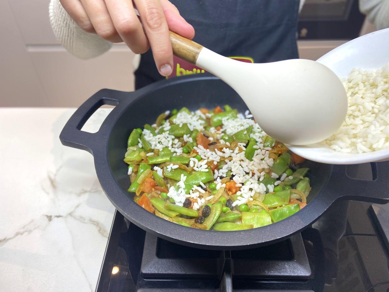 añadir el arroz cocido