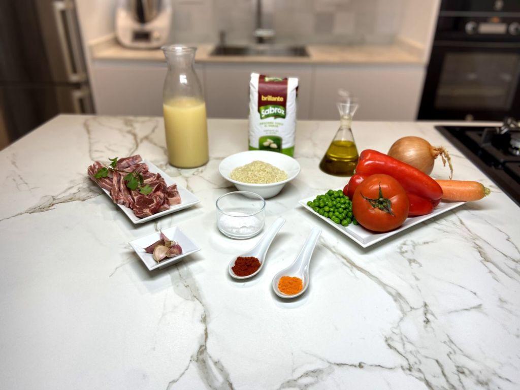 Ingredientes para Arroz con chuletillas de cordero y verdura