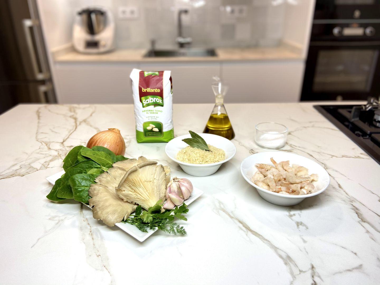 ingredientes para arroz con espinacas y setas