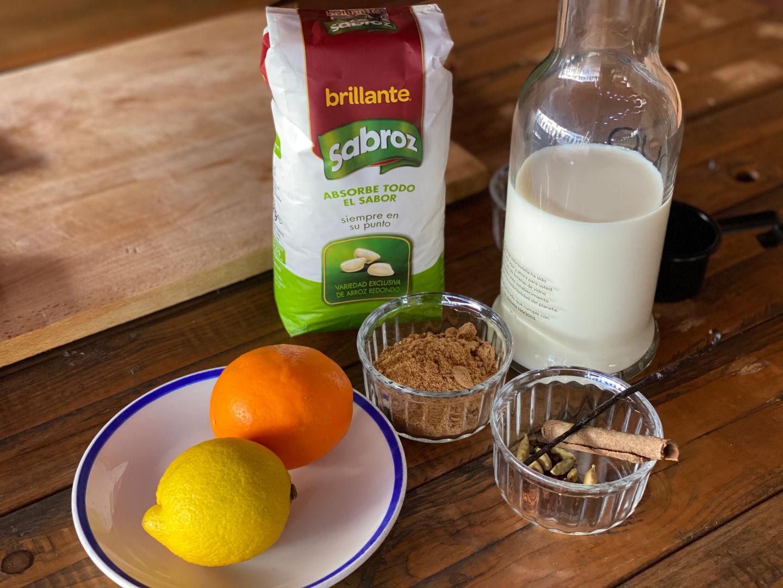 Ingredientes para Arroz con leche con limón y naranja