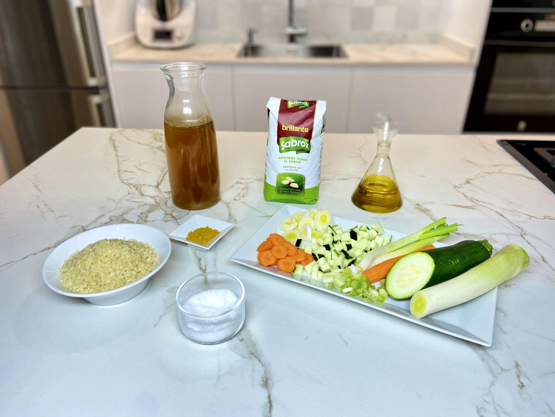 ingrendientes para Arroz con verduras al curry