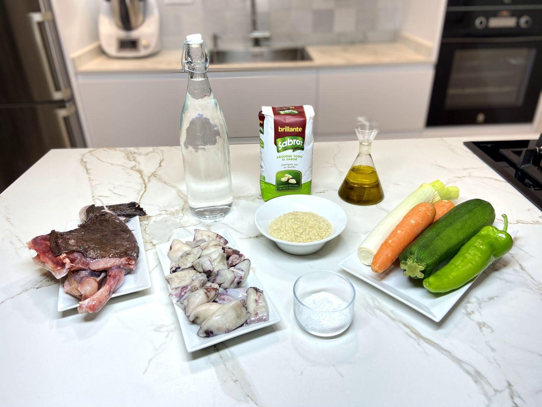 ingredientes para Arroz con verduras y calamares