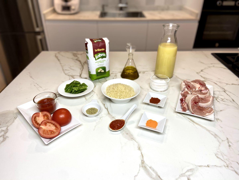ingredientes de paella para dos en inducción y con sartén