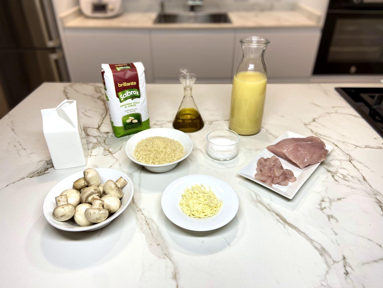 ingredientes para Risotto de champiñones y pavo