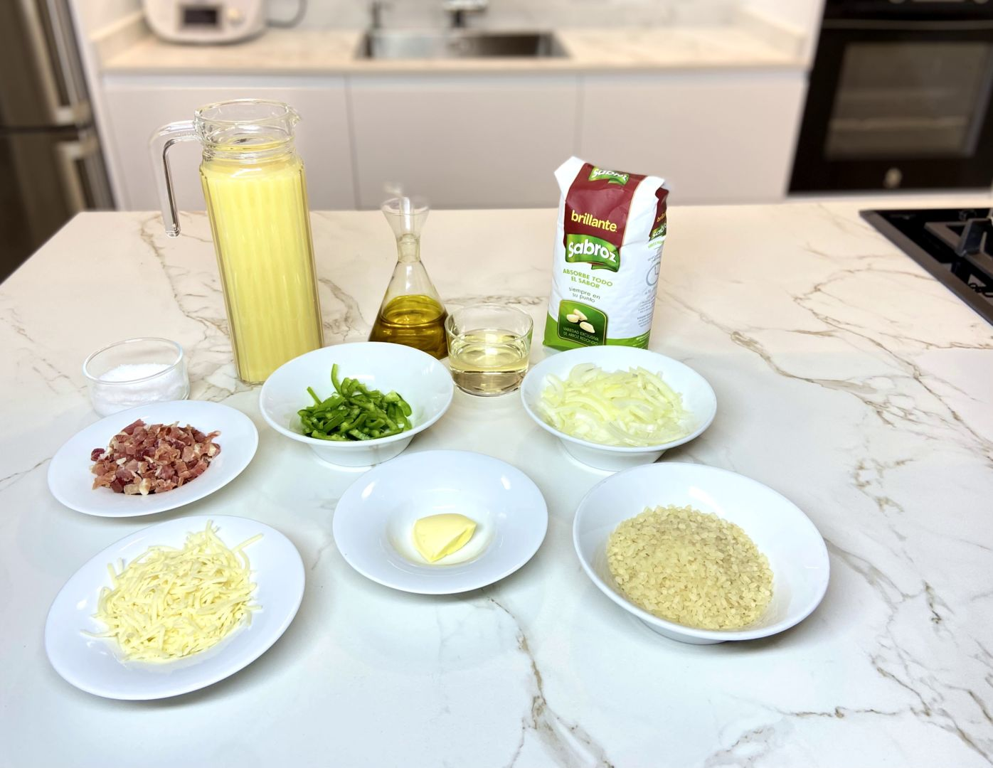 ingredientes para risotto de jamón