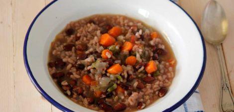 Alubias con arroz y verduras