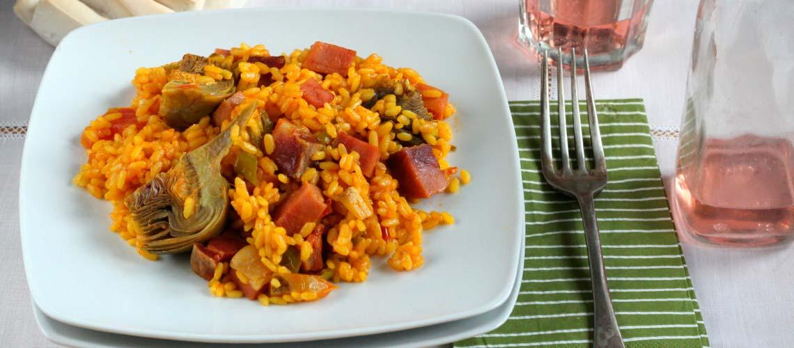 Receta de arroz con dados de jamón