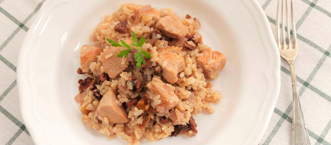 Arroz con pavo y nueces