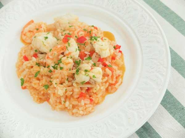 arroz meloso de rape y langostinos