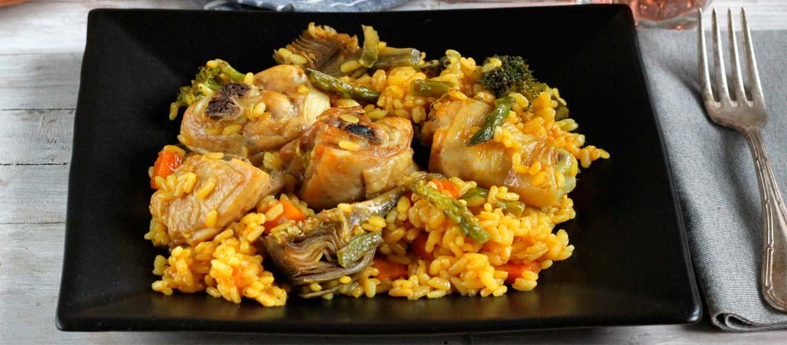 Arroz con verduras y pollo