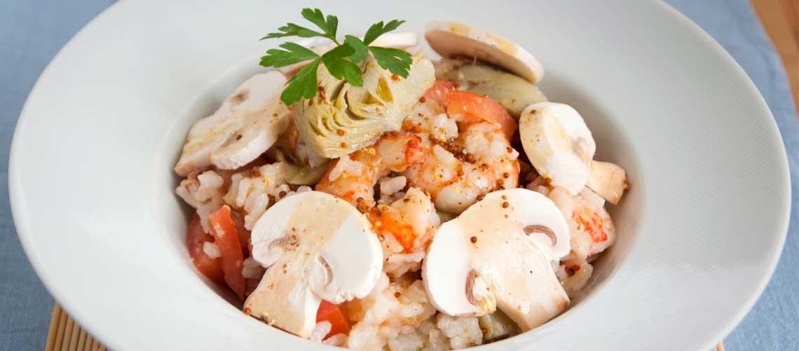 Ensalada templada de arroz y gambas