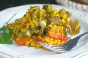 Paella de lomo y verduras