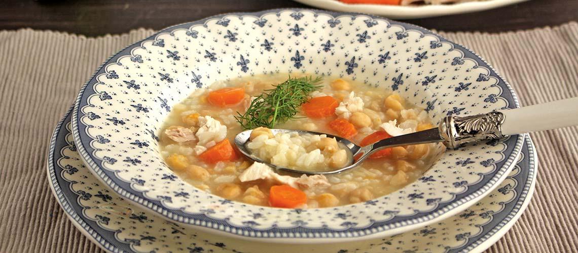 Potaje de garbanzos con arroz en Thermomix
