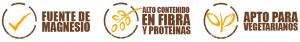 Alto contenido en fibra; fuente de magnesio; Apto para vegetarianos