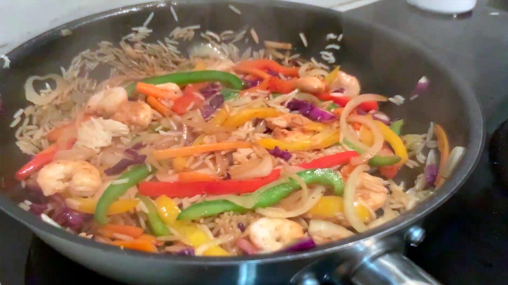 wok verduras receta arroz basmati salteado