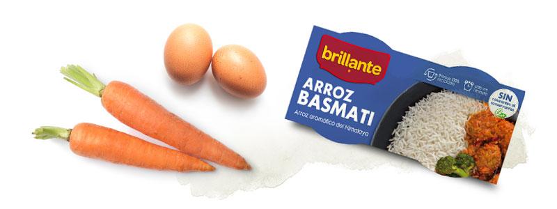 Vasito de Arroz Basmati, huevos y zanahorias