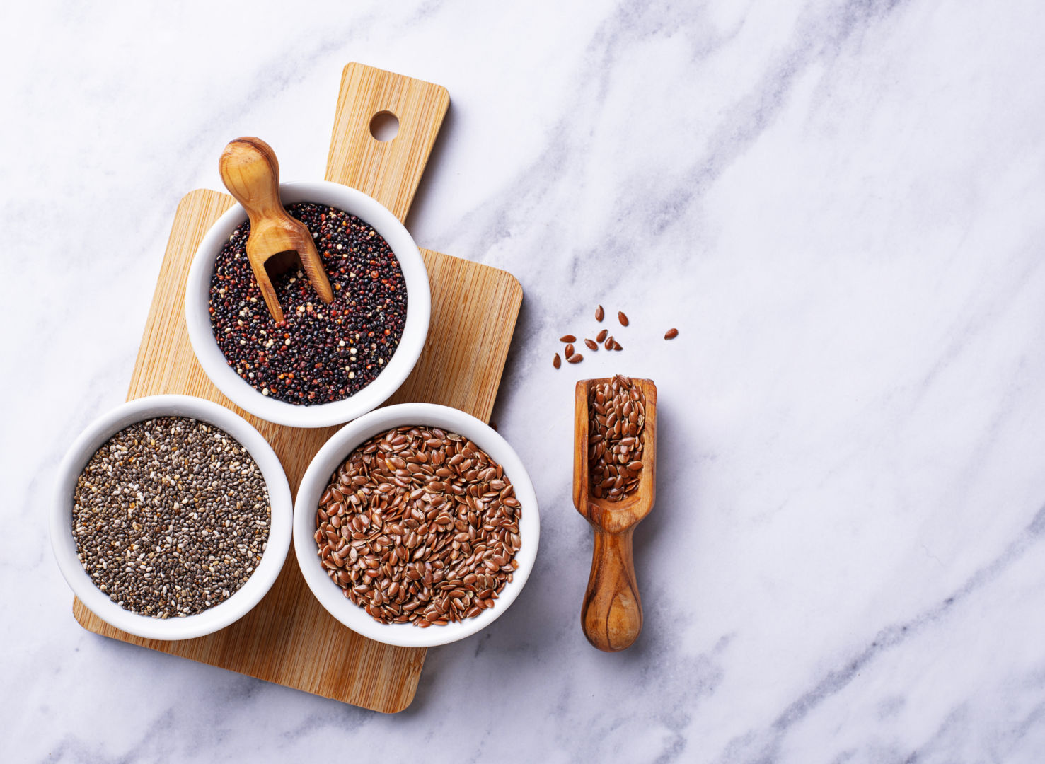 semillas de chía, quinoa y lino