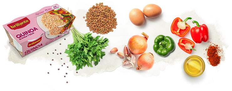 ingredientes para hamburguesas de quinoa y lentejas