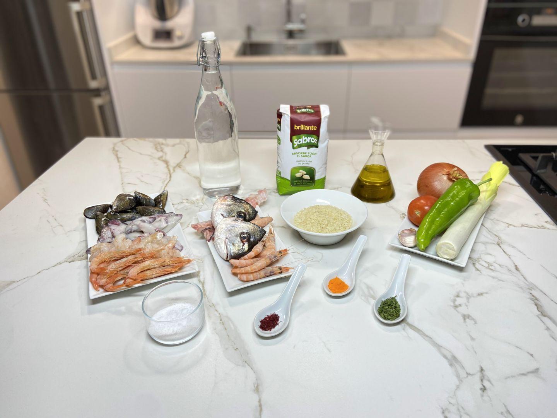 Ingredientes para hacer Arroz meloso de marisco