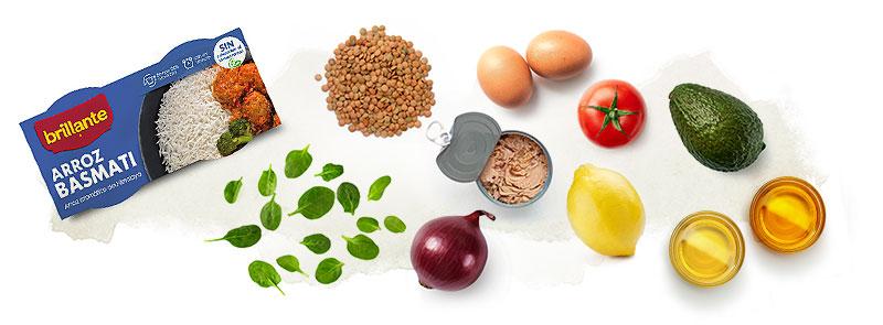 Arroz basmati Brillante e ingredientes para ensalada de arroz y lentejas