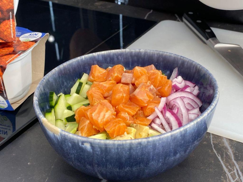 Ensalada de arroz basmati y salmón