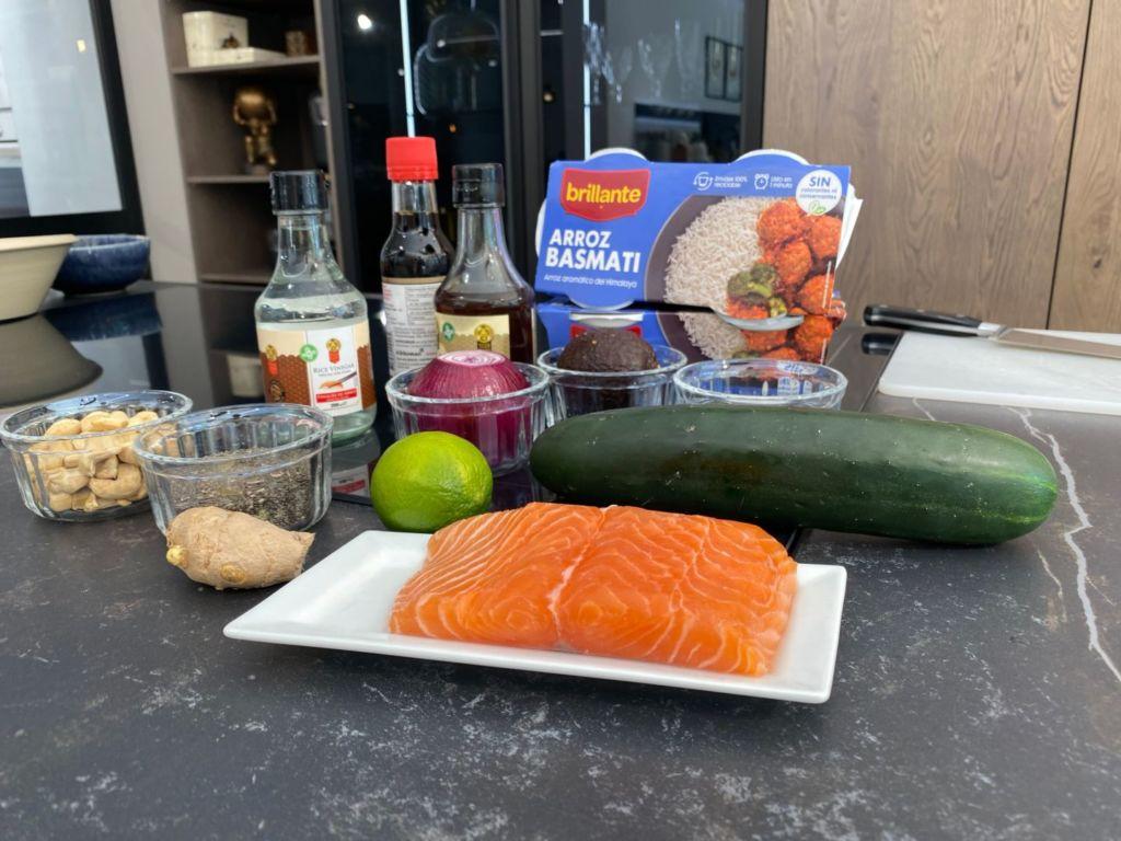 Ingredientes para Ensalada de arroz basmati y salmón