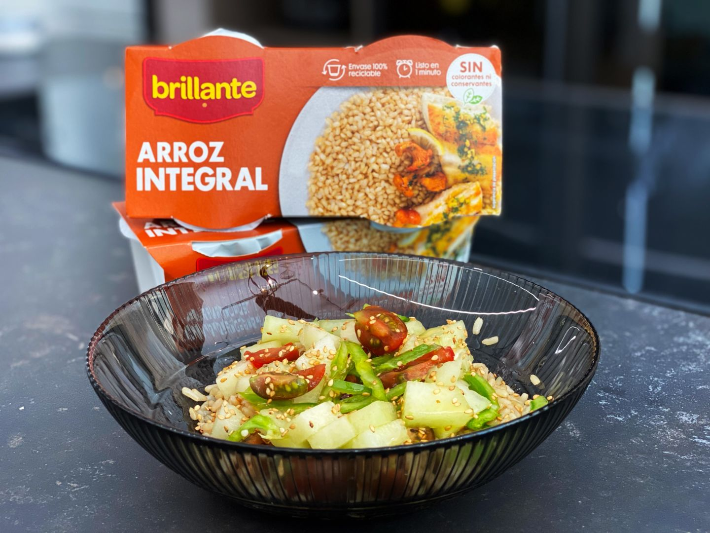 Ensalada de arroz integral y melón
