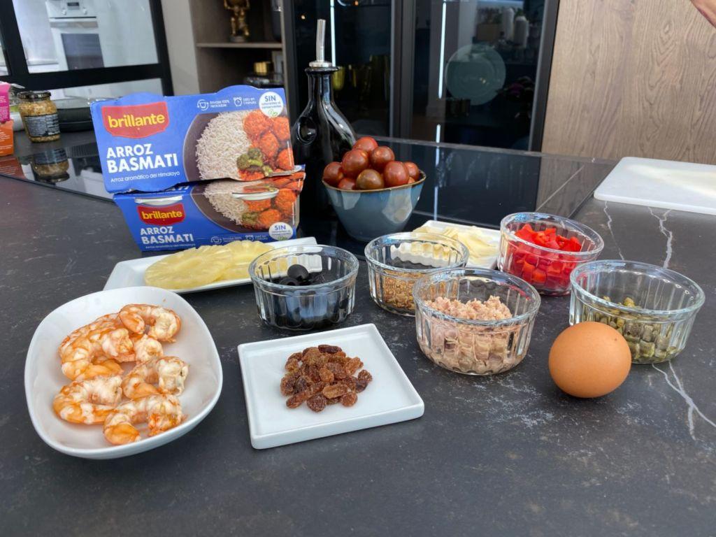 Ingredientes para Ensalada de arroz basmati y langostinos
