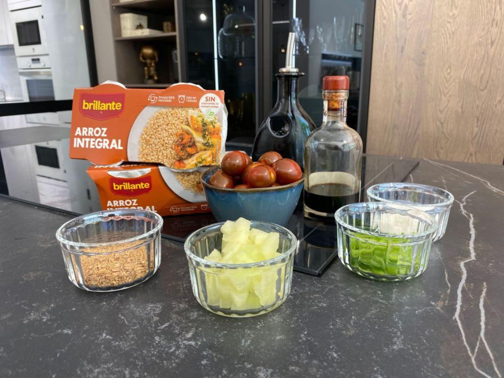Ingredientes para Ensalada de arroz integral y melón