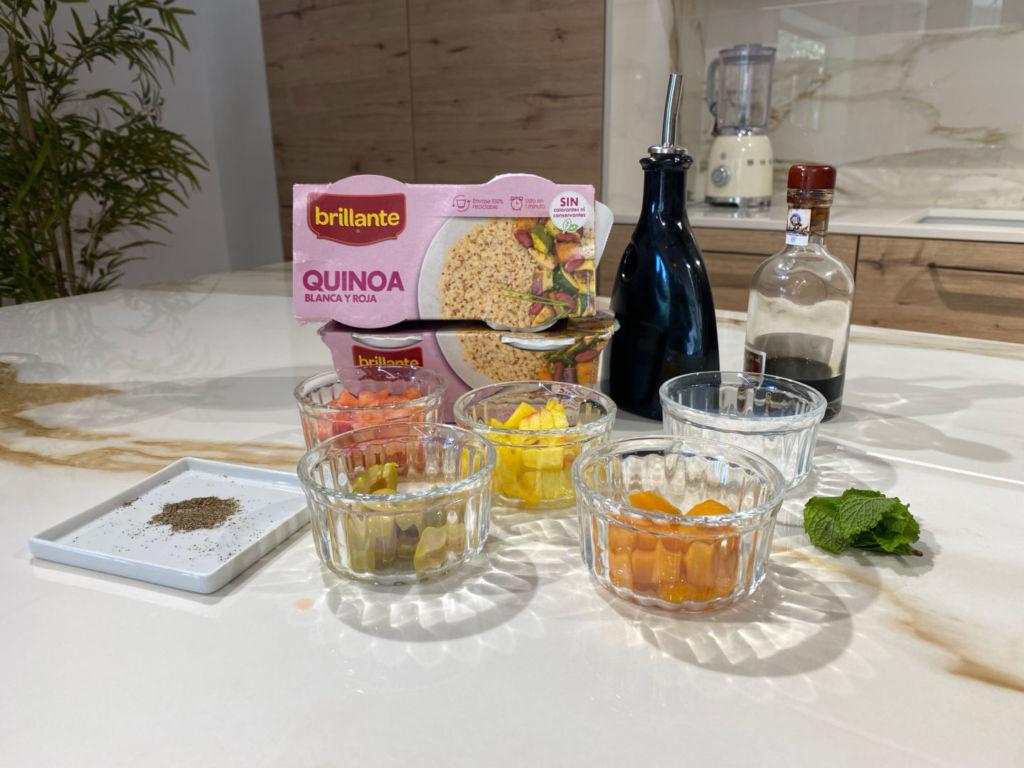 Ingredientes para preparar Ensalada de quinoa con melocotón y albaricoque