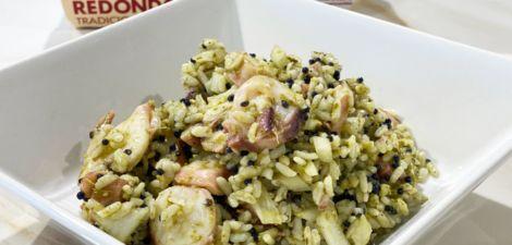 Ensalada de arroz redondo con pulpo