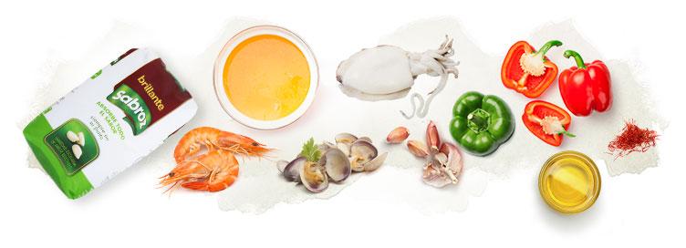 Ingredientes para hacer arroz a la marinera caldoso